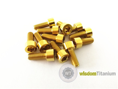 Titanium Bicycle Clamp Bolt Screw DIN912 M6*15 Gold Color